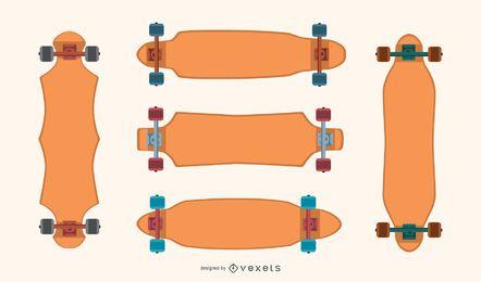 Longboards en blanco conjunto de vectores