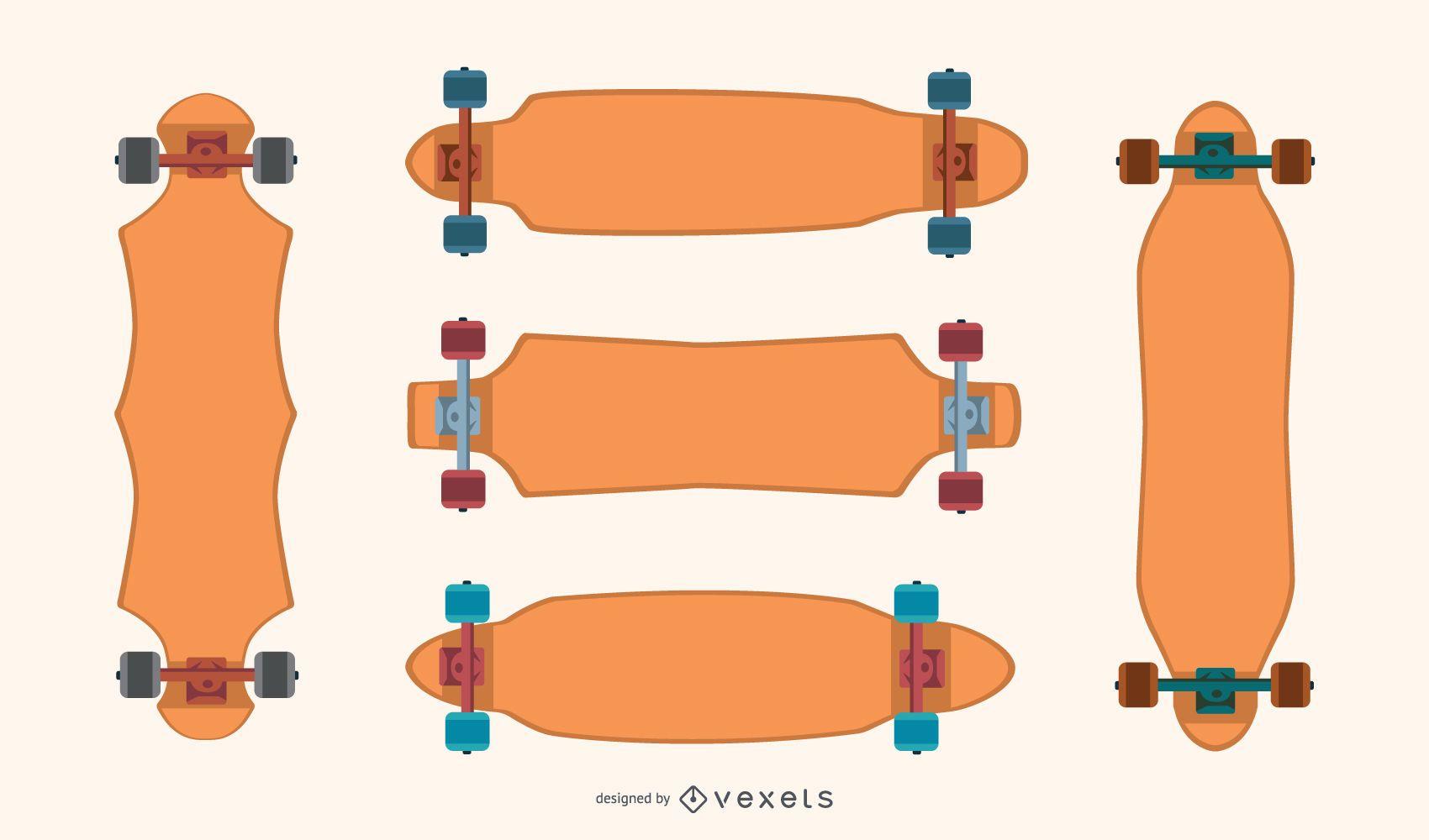 Longboards blank vector set