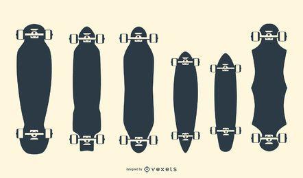 Conjunto de silhuetas de longboards
