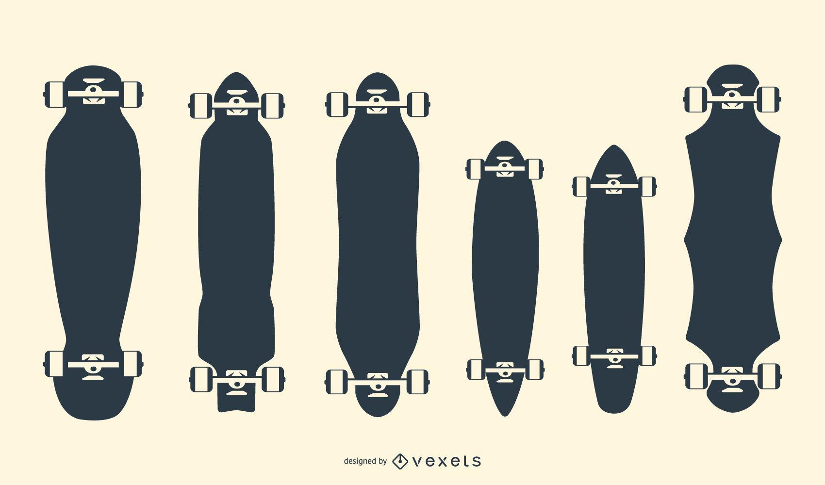 Longboards silhouettes set