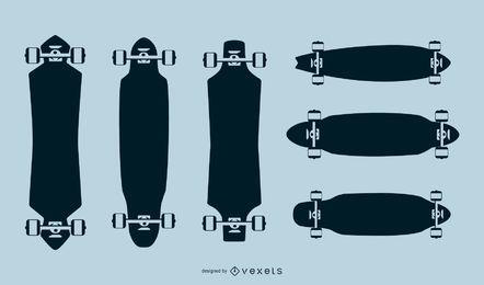Pacote de silhuetas de longboard