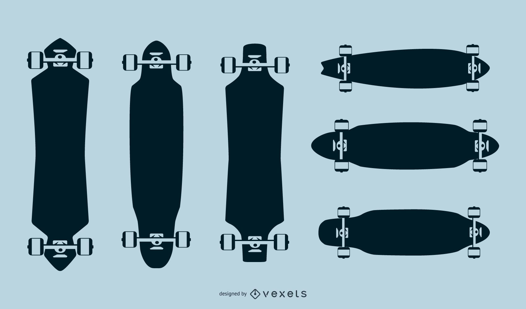 Longboard silhouettes pack