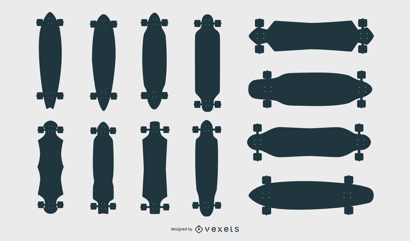 Conjunto de vectores de siluetas de longboard