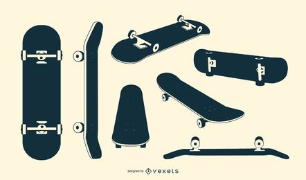 Conjunto de silueta de patineta