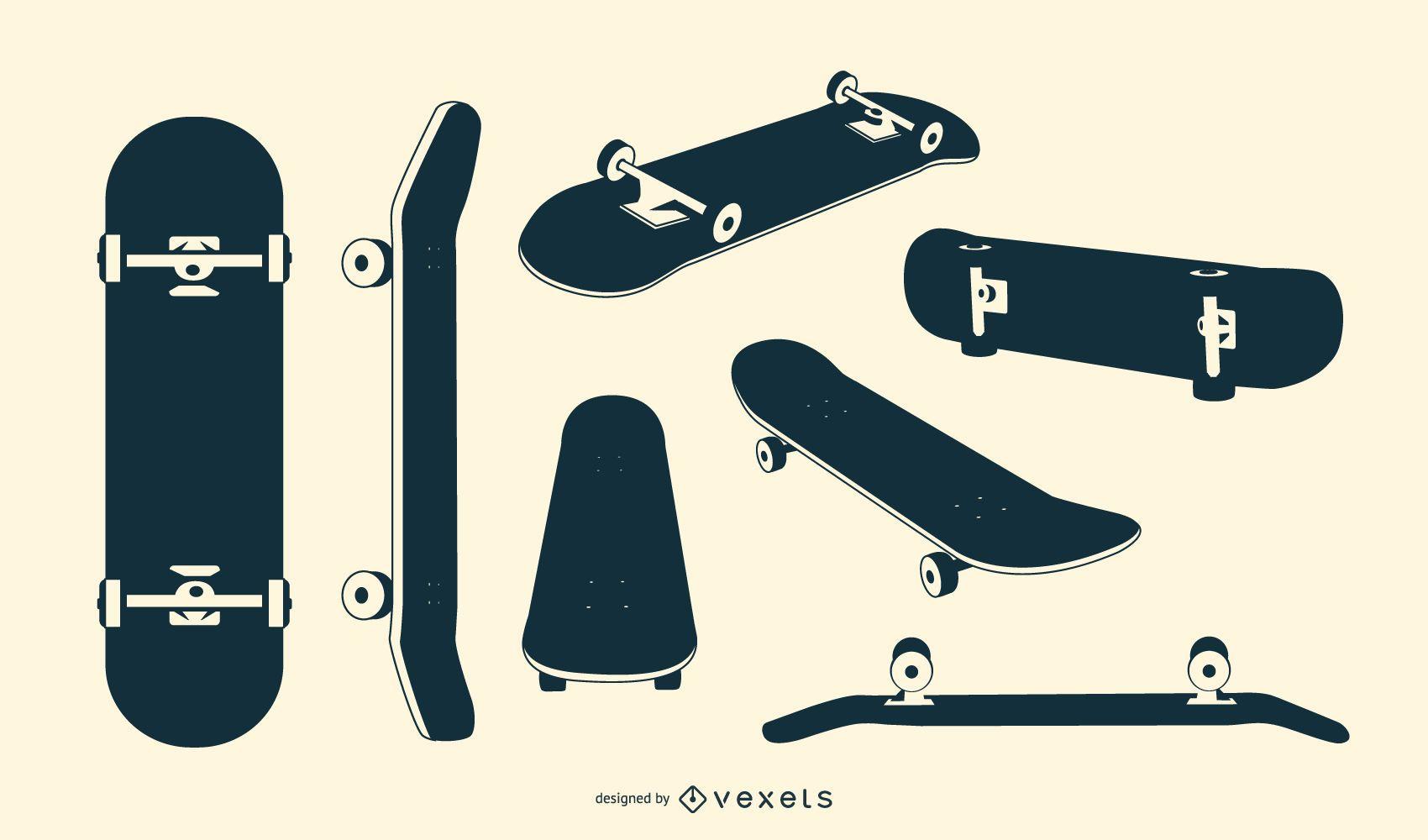 Skateboard silhouette set