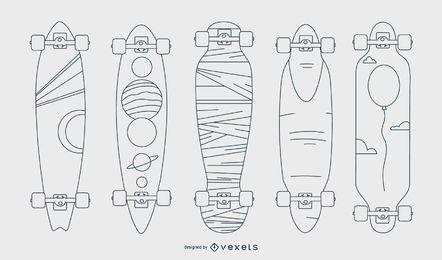 Conjunto de vector de línea artística de longboard