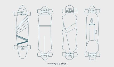 Longboards line vector set