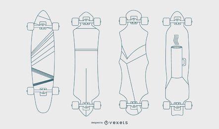 Longboards Linie Vektor festgelegt