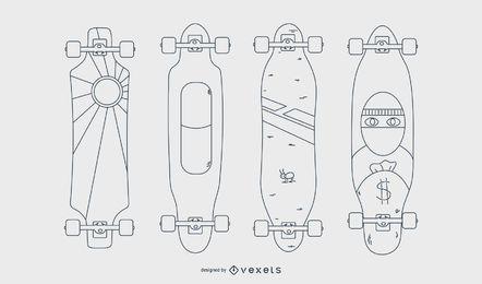 Conjunto de linhas de longboards