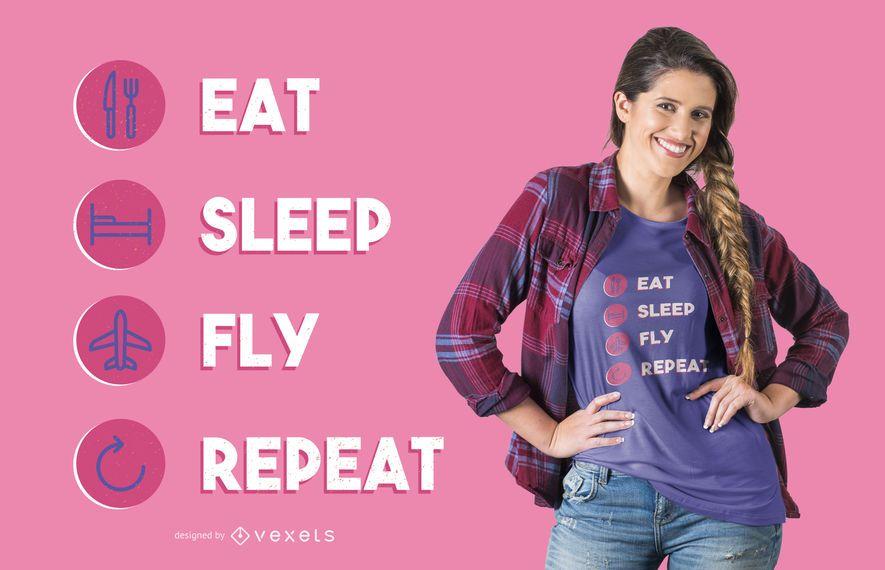 Coma o projeto do t-shirt da repetição da mosca do sono