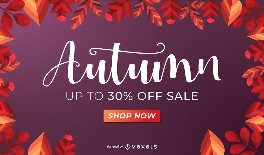 Diseño de banner de venta de otoño
