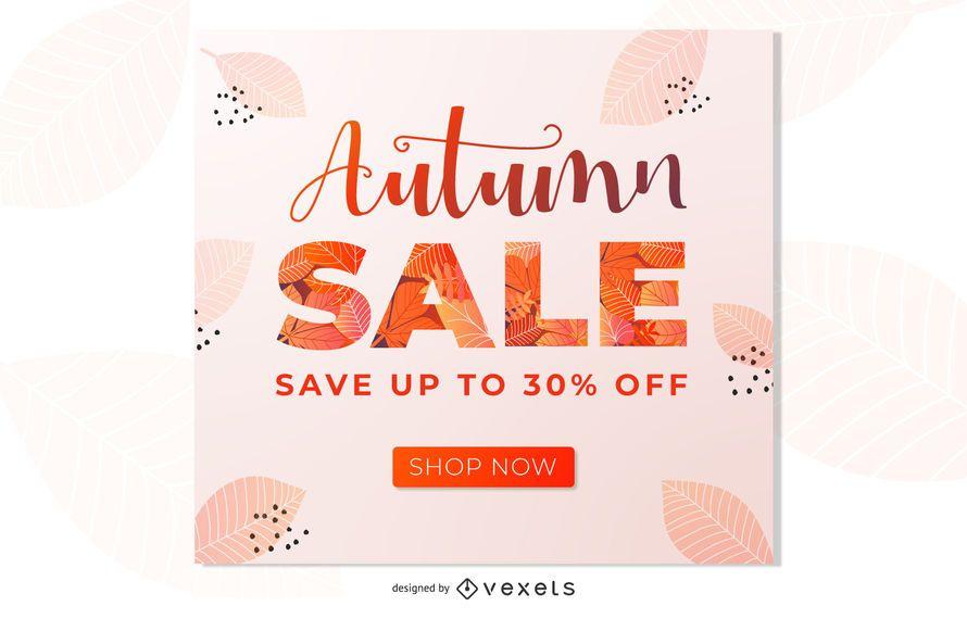 Diseño de banner de promoción de venta de otoño
