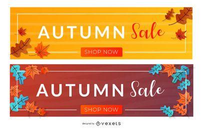 Conjunto de banner de venda de outono
