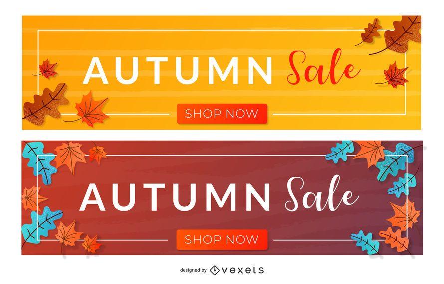 Conjunto de banners de venta de otoño