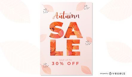 Diseño de cartel de venta de otoño