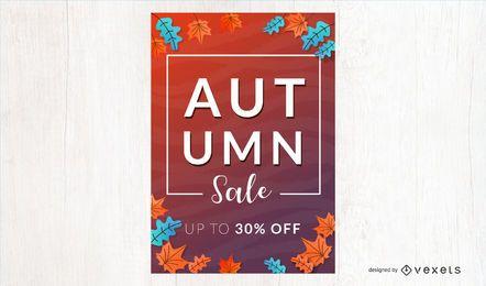 Banner de vetor de desconto de venda outono