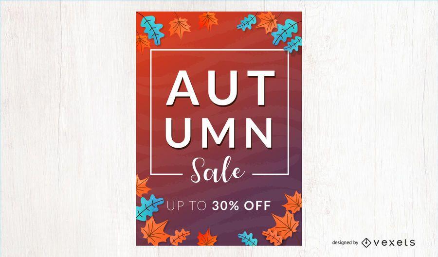 Banner de Vector de descuento de venta de otoño