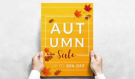 Banner de vetor editável de venda de outono