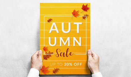 Banner de vetor editável de venda outono