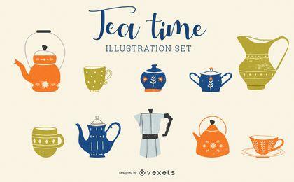Tee-Zeit-Karikatur-Illustrations-Satz