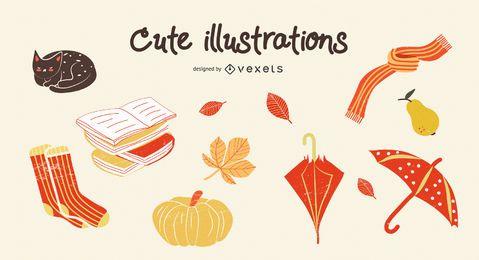 Conjunto de ilustrações fofas de outono