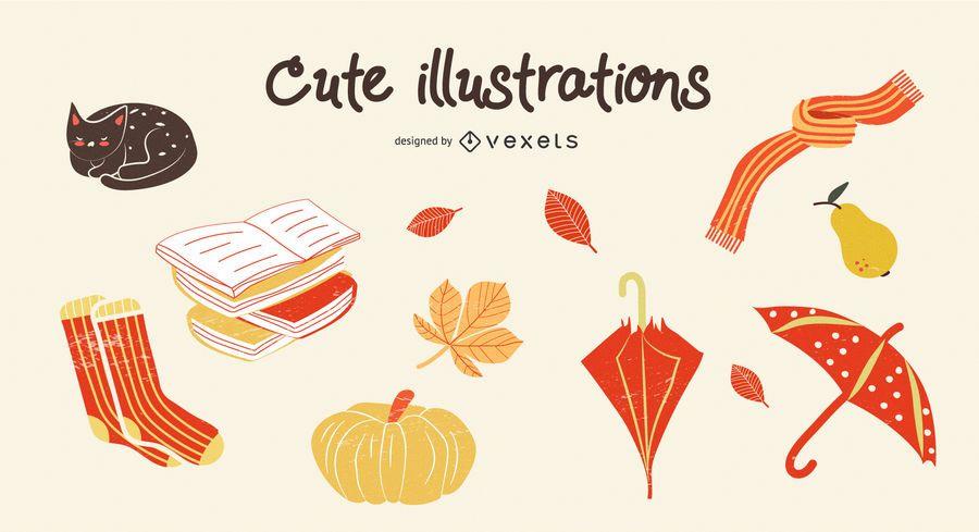 Outono bonito conjunto de ilustração