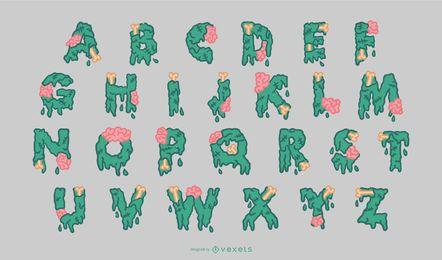 Conjunto de Alfabeto Halloween Zombie