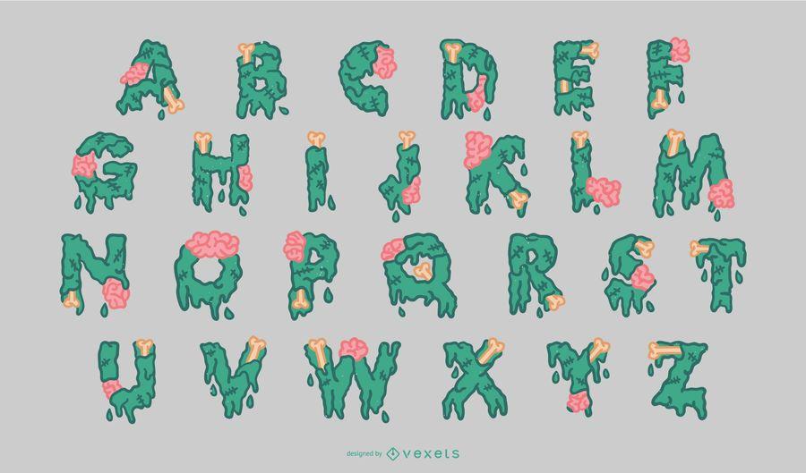 Halloween Zombie Alphabet Set