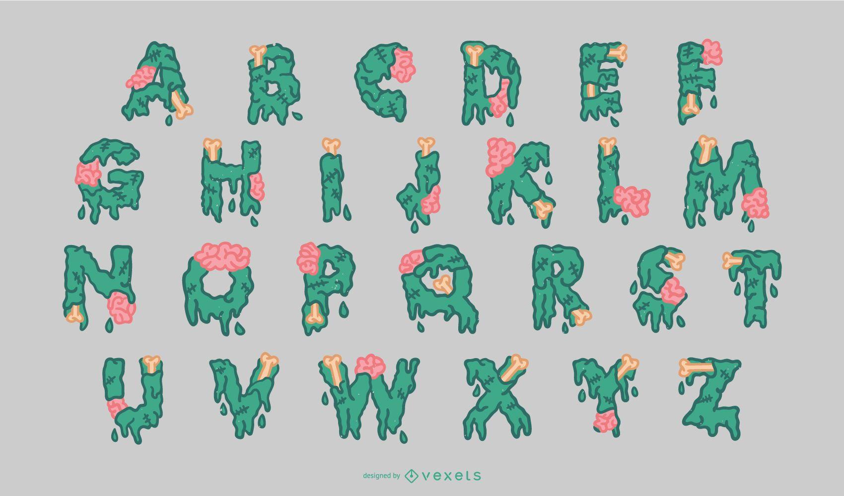 Conjunto de alfabeto de zumbis para Halloween