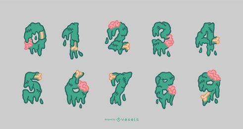 Conjunto de números do alfabeto de zumbis para Halloween