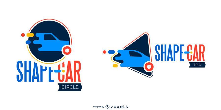 Shape car logo set