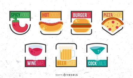 Conjunto de design de logotipo de fast food