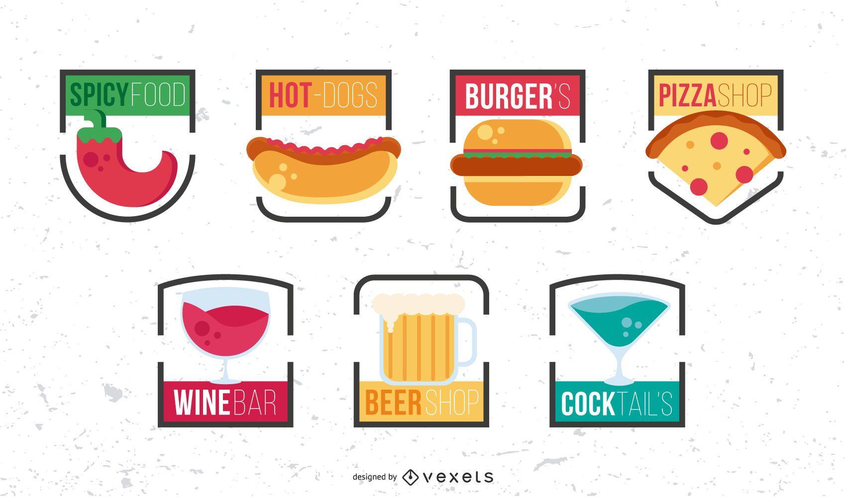 Conjunto de diseño de logotipo de comida rápida