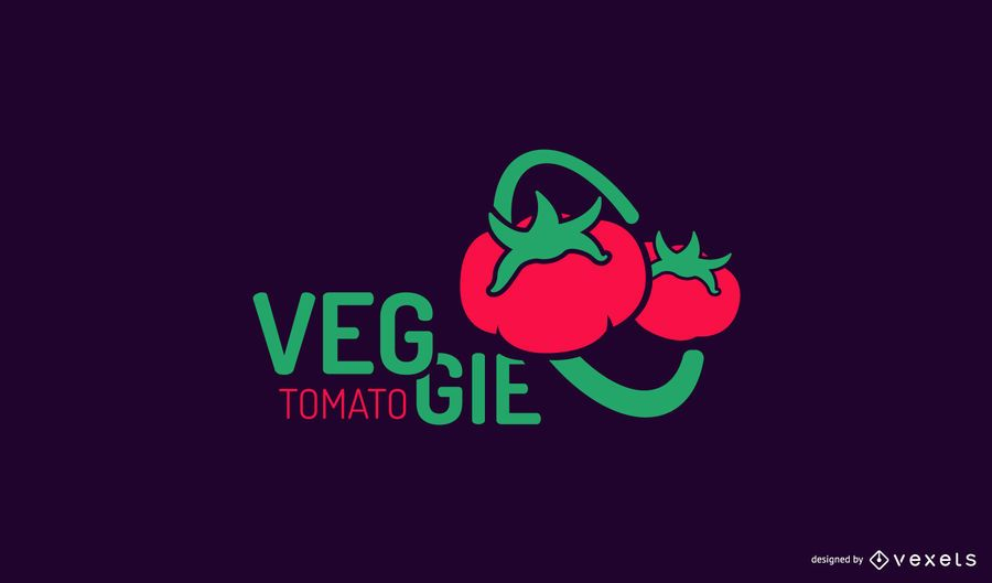 Modelo de logotipo de tomate vegetariano