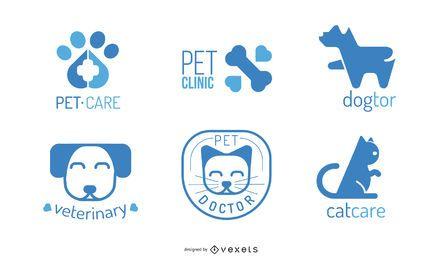 Conjunto de diseño de logotipo veterinario