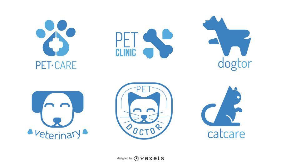 Veterinär-Logo-Design-Set