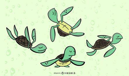 Conjunto de vetor colorido elegante de tartaruga