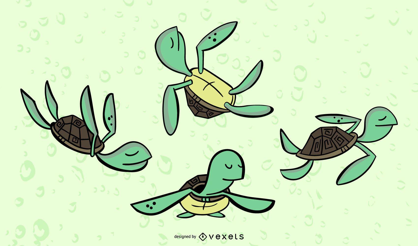 Turtle Stylish Colored Vector Set