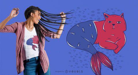 Meerjungfrau-Katzen-T-Shirt Entwurf