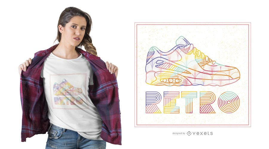 Design retro do t-shirt da sapata