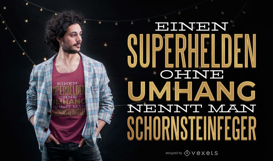 Cita de superhéroe diseño de camiseta alemana