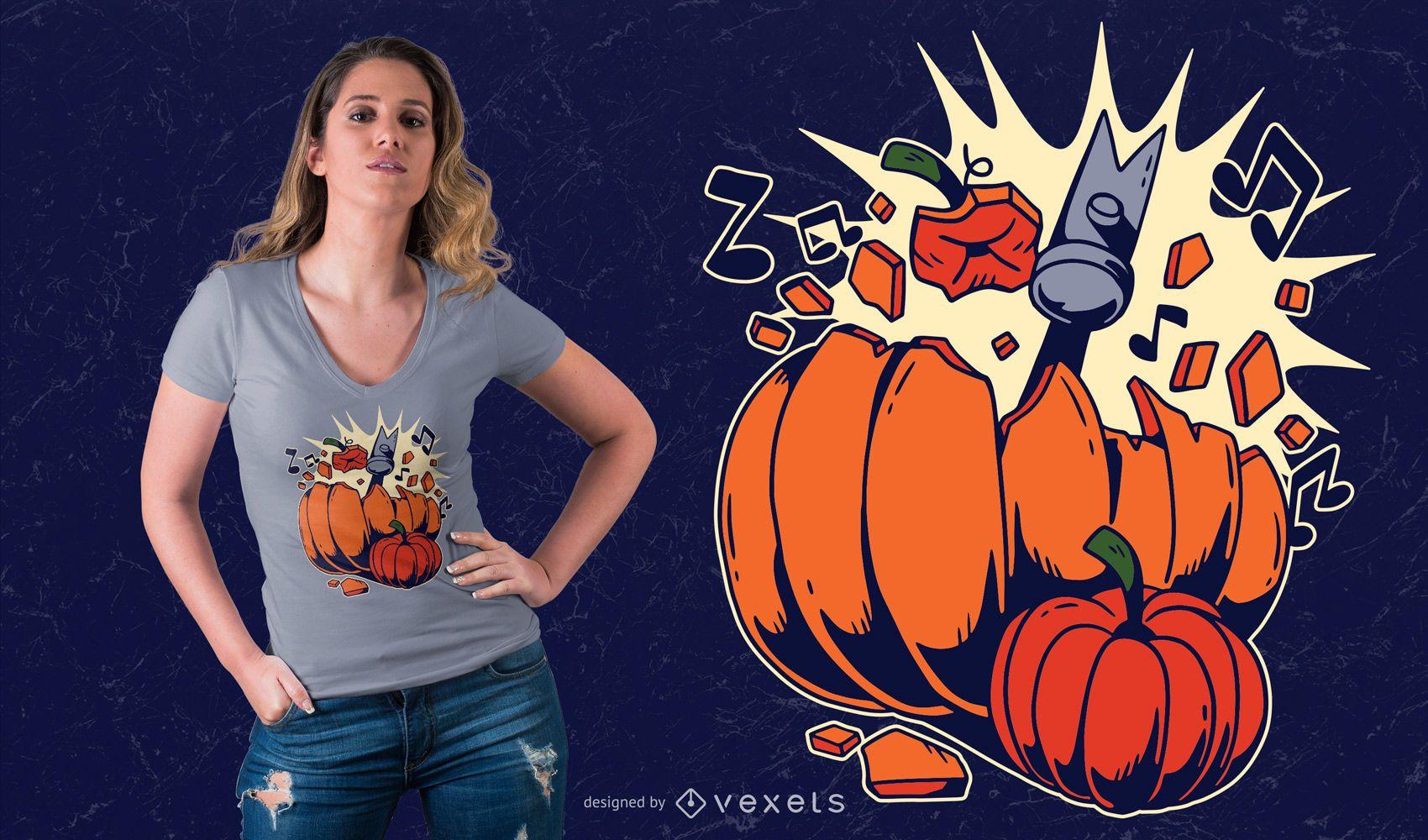 Breaking Pumpkin T-shirt Design