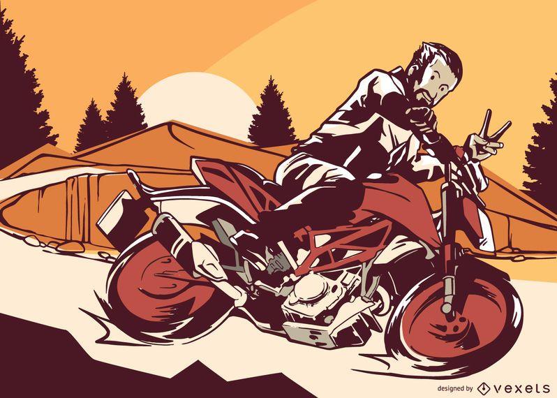 Ilustração em vetor de estrada de moto