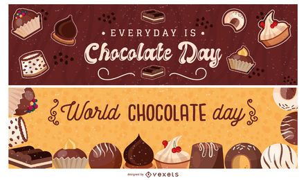 Conjunto de banner do mundo chocolate dia