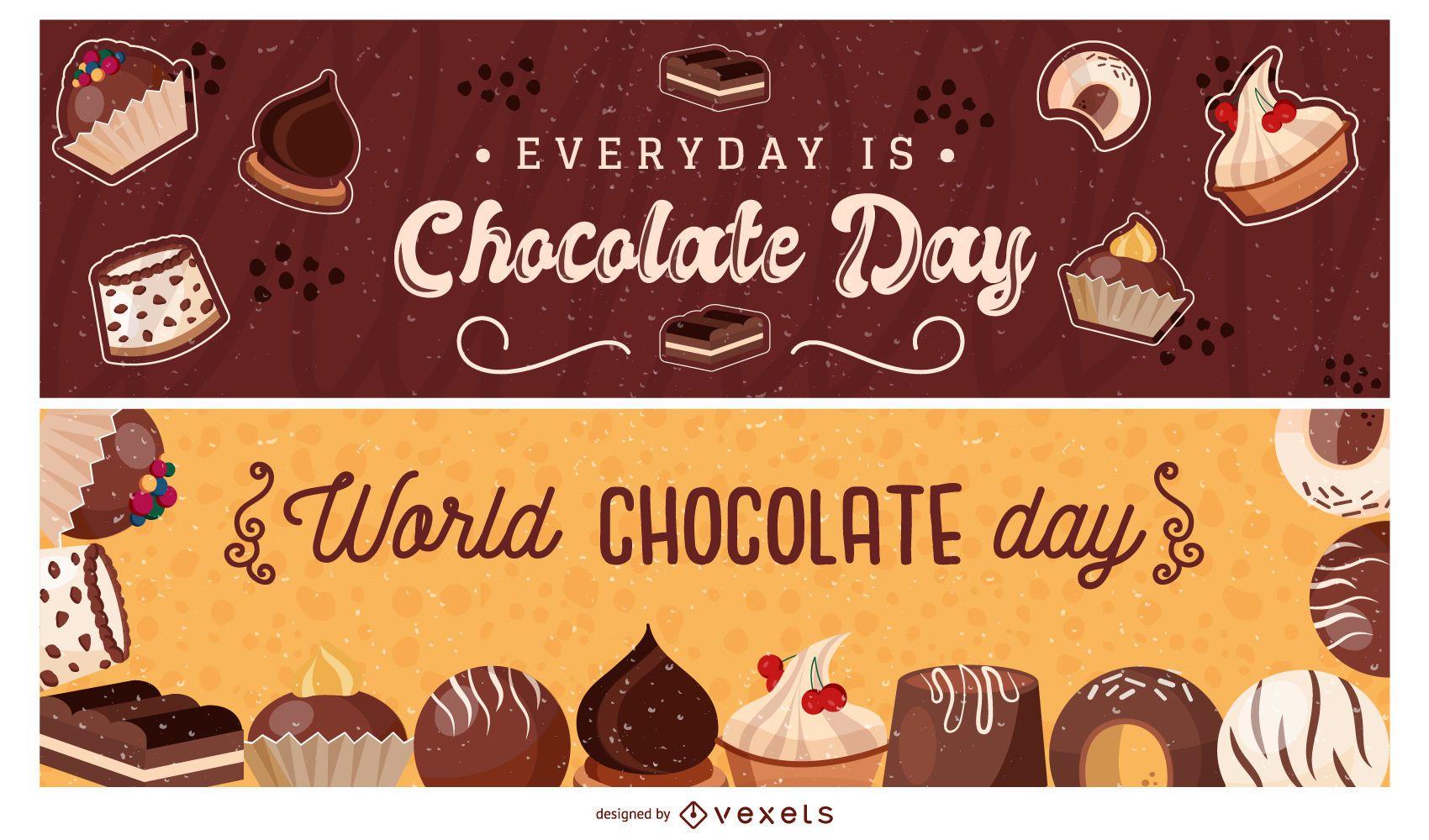 Conjunto de banners del día mundial del chocolate