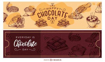 Schokoladentageshand gezeichneter Fahnensatz