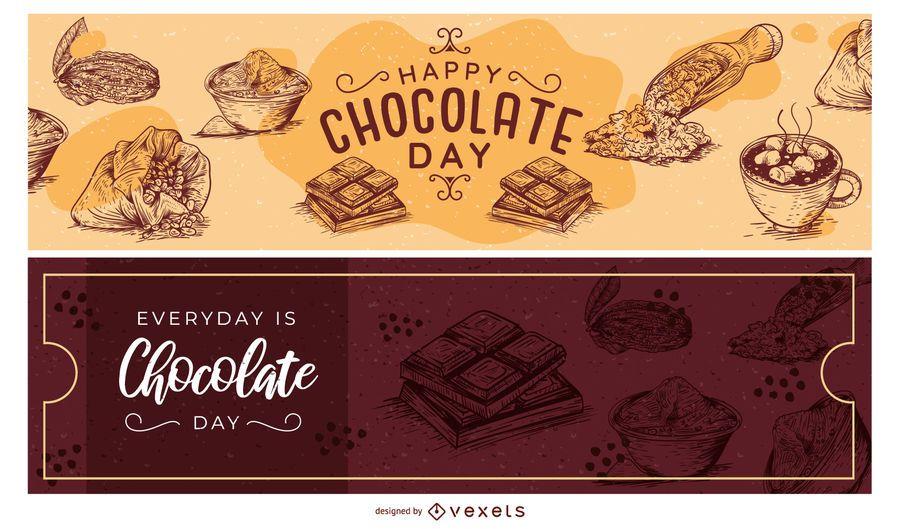 Conjunto de banner de mão desenhada dia chocolate