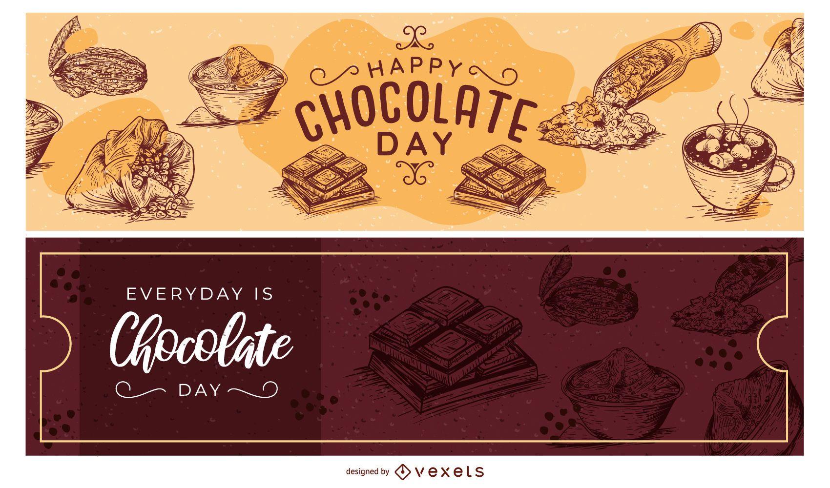 Conjunto de banner dibujado a mano del día del chocolate