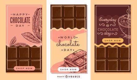 Conjunto de banner de barra de chocolate