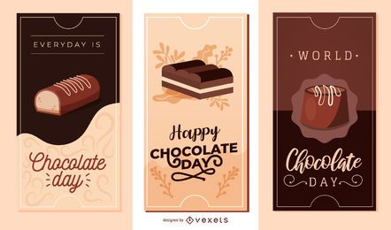 Conjunto de banners de vetor de chocolate para dia